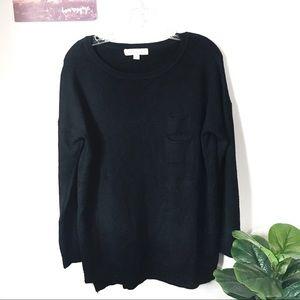 Love Stitch Sweater Black raw hem pockets Medium